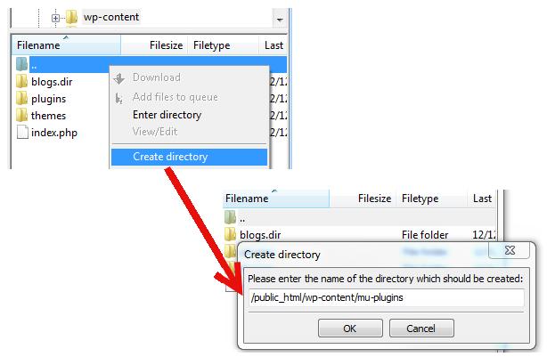 Create mu plugins directory