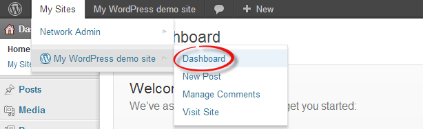 Accessing the site admin dashboard