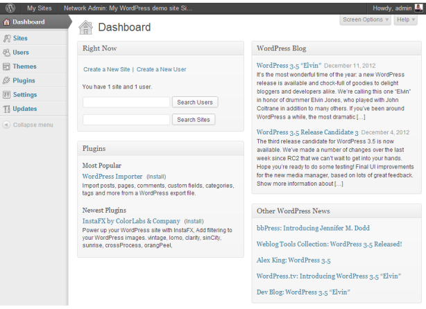 The network admin dashboard