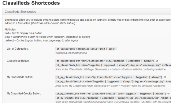 Classifieds Shortcodes
