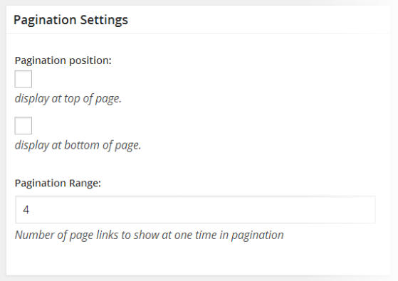 Classifieds - General Settings - Pagination Settings