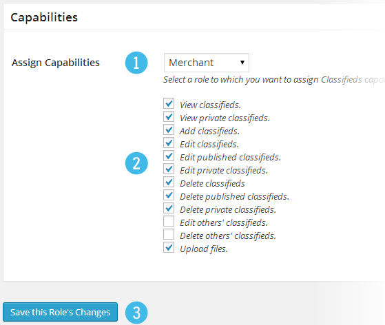 Classifieds Settings - Capabilities