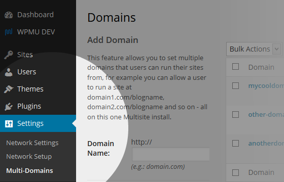 Multi-Domains Menu