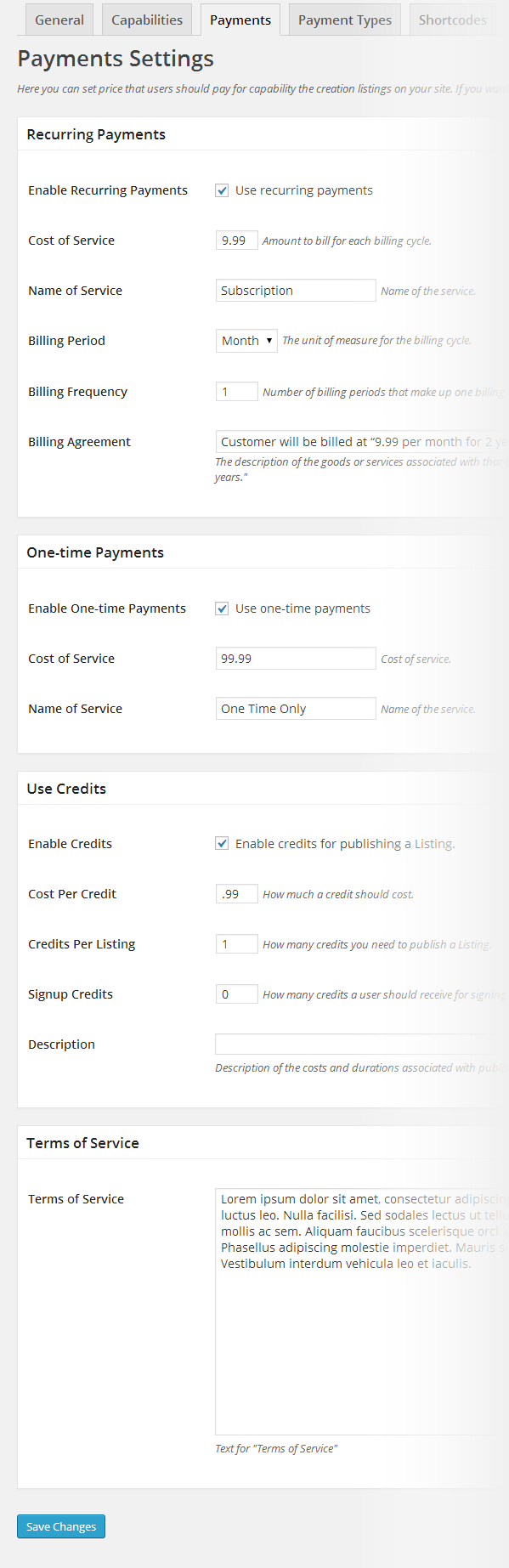 Directory payment settings