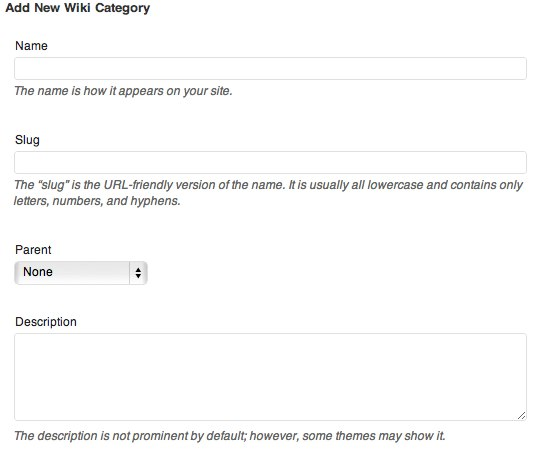 Wiki Categories - Add New