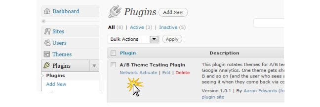 Network activate plugin