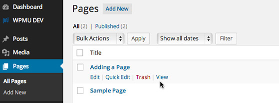 Click the title of the page or post you would like to edit or hover over the title and click 'Edit' in the action menu.