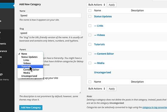 Organize 'Categories' into sub-categories.