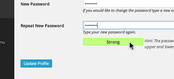Type a new password in the text box next to 'New Password' and reenter the password where it says 'Repeat New Password'.