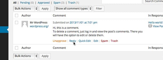 Hover over a comment to reveal the action menu.