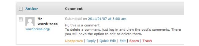 Comment action link menu items