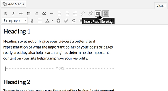 Put the cursor where you want to break up the Post and click the 'Insert More' tag icon.