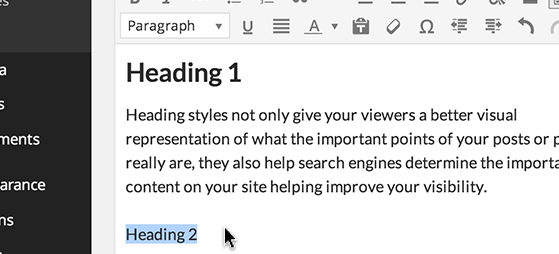 Highlight the text you want to style.