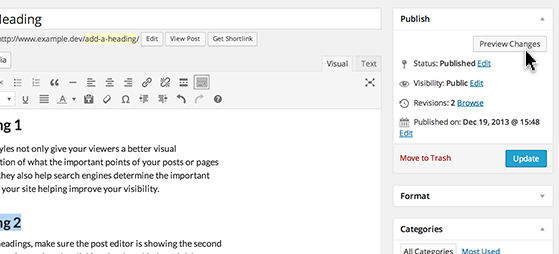 Click 'Preview' in the 'Publish' module to see your changes.