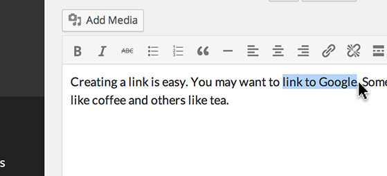 Highlight a word or a group of words and click the 'Link' icon.