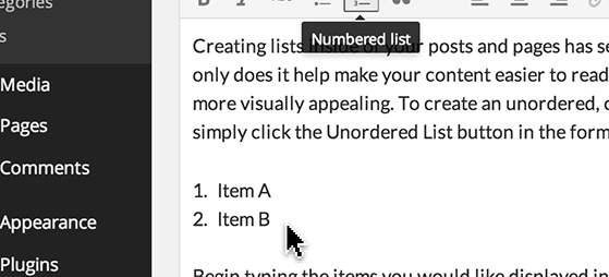 Click the 'Ordered List' icon to create a numbered list.