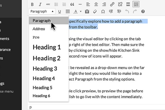 Formatting drop-down menu in the 'Visual' toolbar