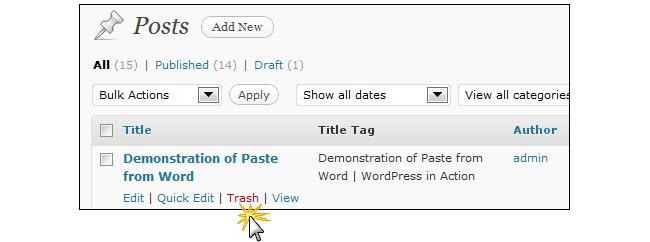 Click on the trash action link menu item