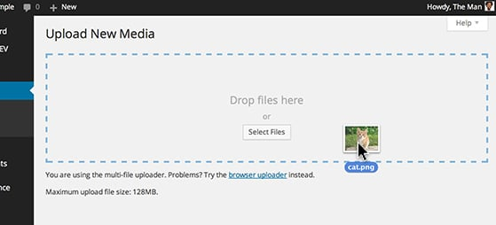 Drag a media file to the uploader.
