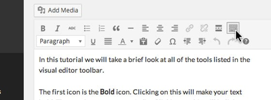 Clicking the 'Toolbar Toggle' icon reveals another layer of formatting tools.