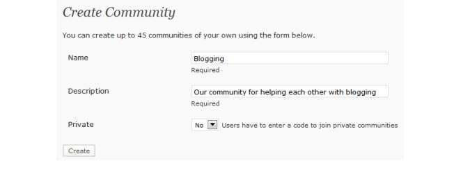 Creating a new community