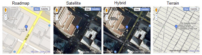 Examples of Google map types