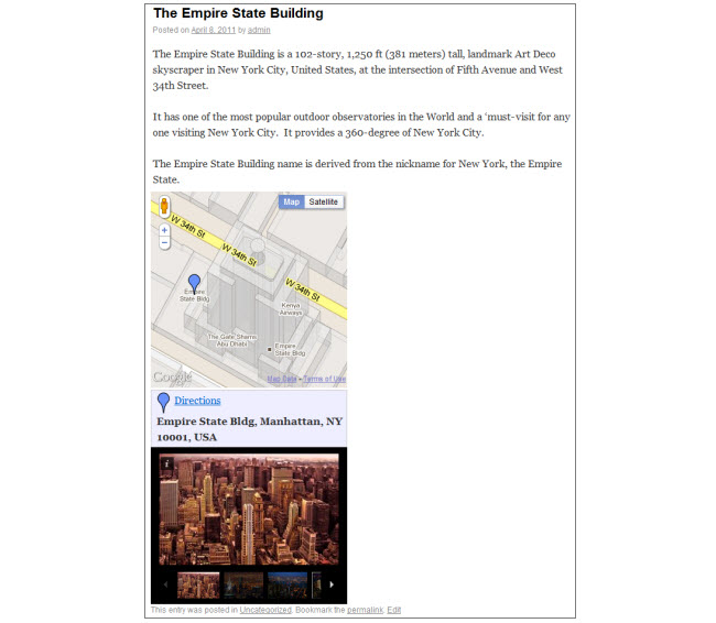Example of a Google Map embedded in a post