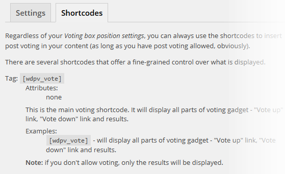 Post Voting - Shortcodes