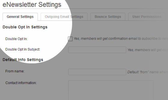 General Settings – your default settings.