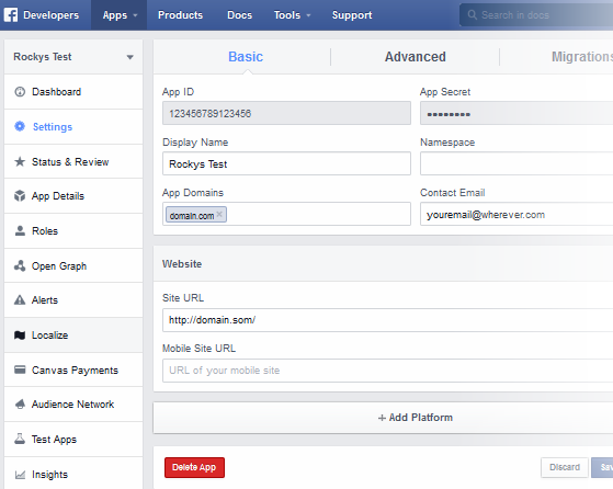 UltimateFacebook App Settings