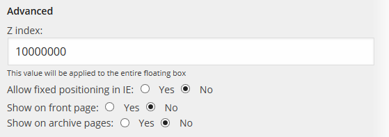 Floating Social - Settings - Advanced