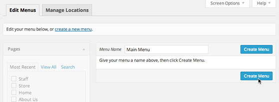 Give your new menu a name where it says 'Menu Name' and click the 'Create Menu' button.
