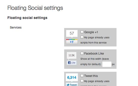 Floating Social settings