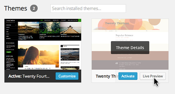 Hover over a theme to reveal 'Theme Details', The 'Activate' button and the 'Live Preview' option.