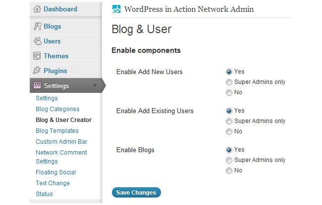 Confirugre your Blog and user creator network setting