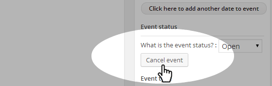 Events - Cancel button