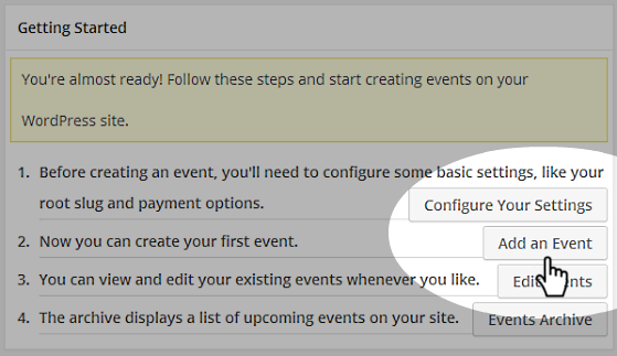 Getting Started - Add an Event