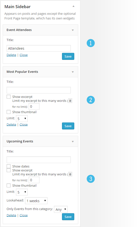 Events - Widgets