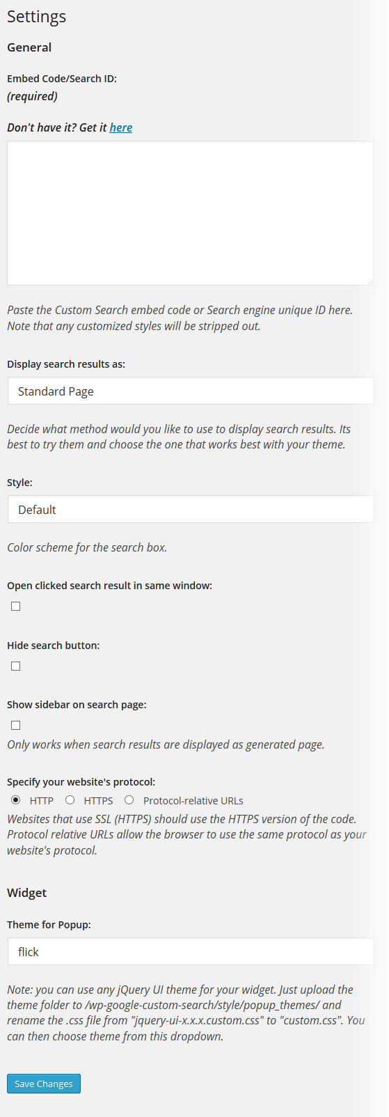 Custom Google Search Settings