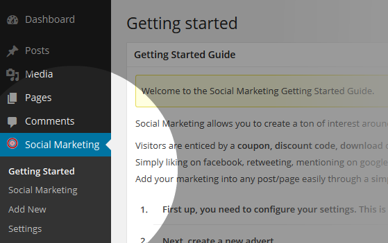 Social Marketing Menu