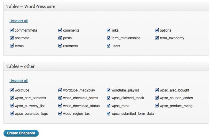 backup wordpress database tables