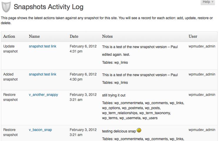 Backup activity log
