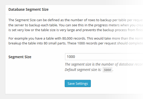Snapshot Database Segment Size