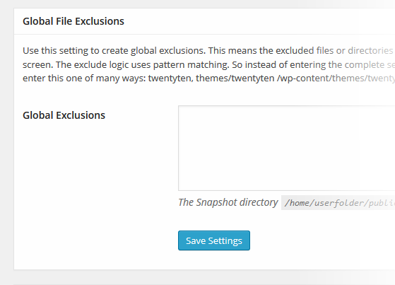 Snapshot File Exclusions