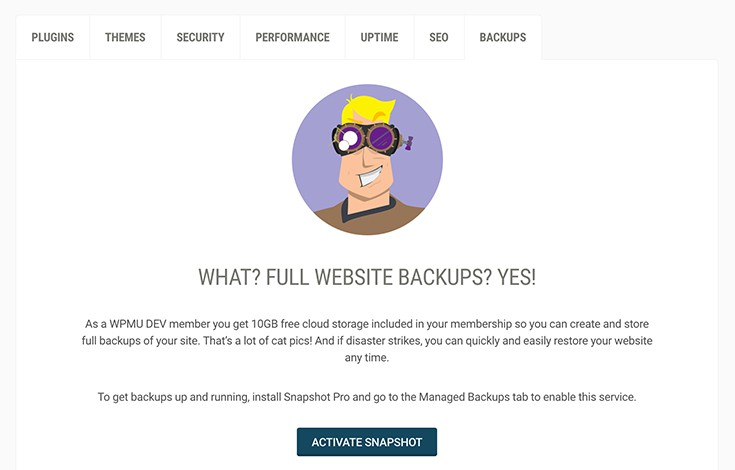 Snapshot is standing by and ready to backup your WordPress website.
