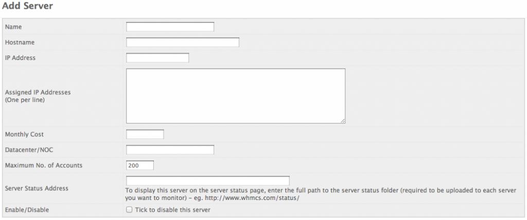 WHMCS - Add Server