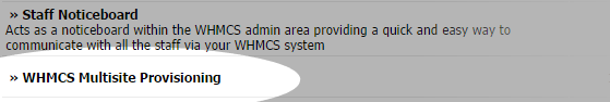 WHMCS - Addons - WHMCS Multisite Provisioning