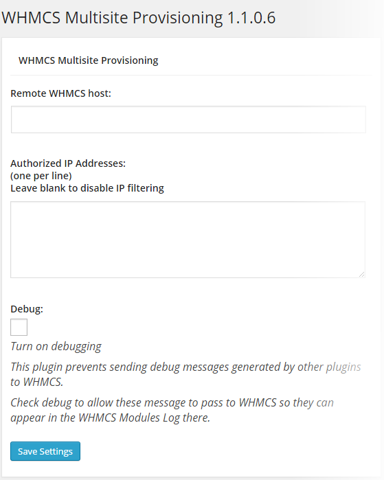 WHMCS Provisioning - Settings