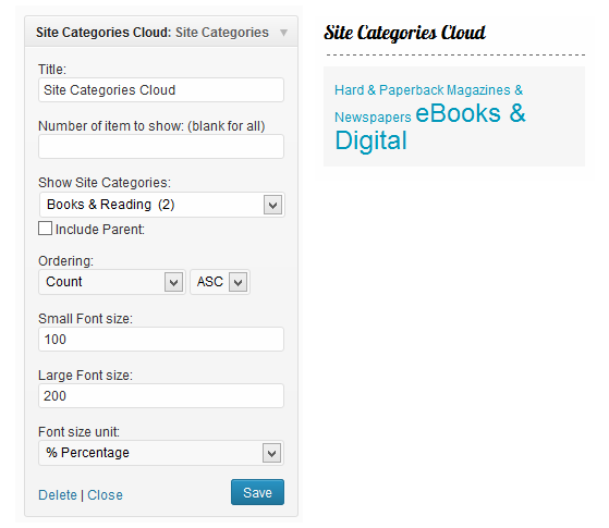 Site Categories Cloud widget options and example.