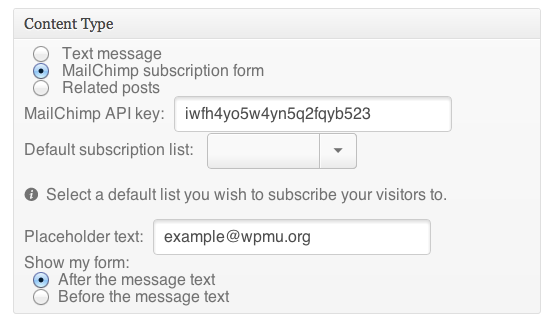 We'll automatically retrieve all your subscriber lists from MailChimp once you've added your API key.